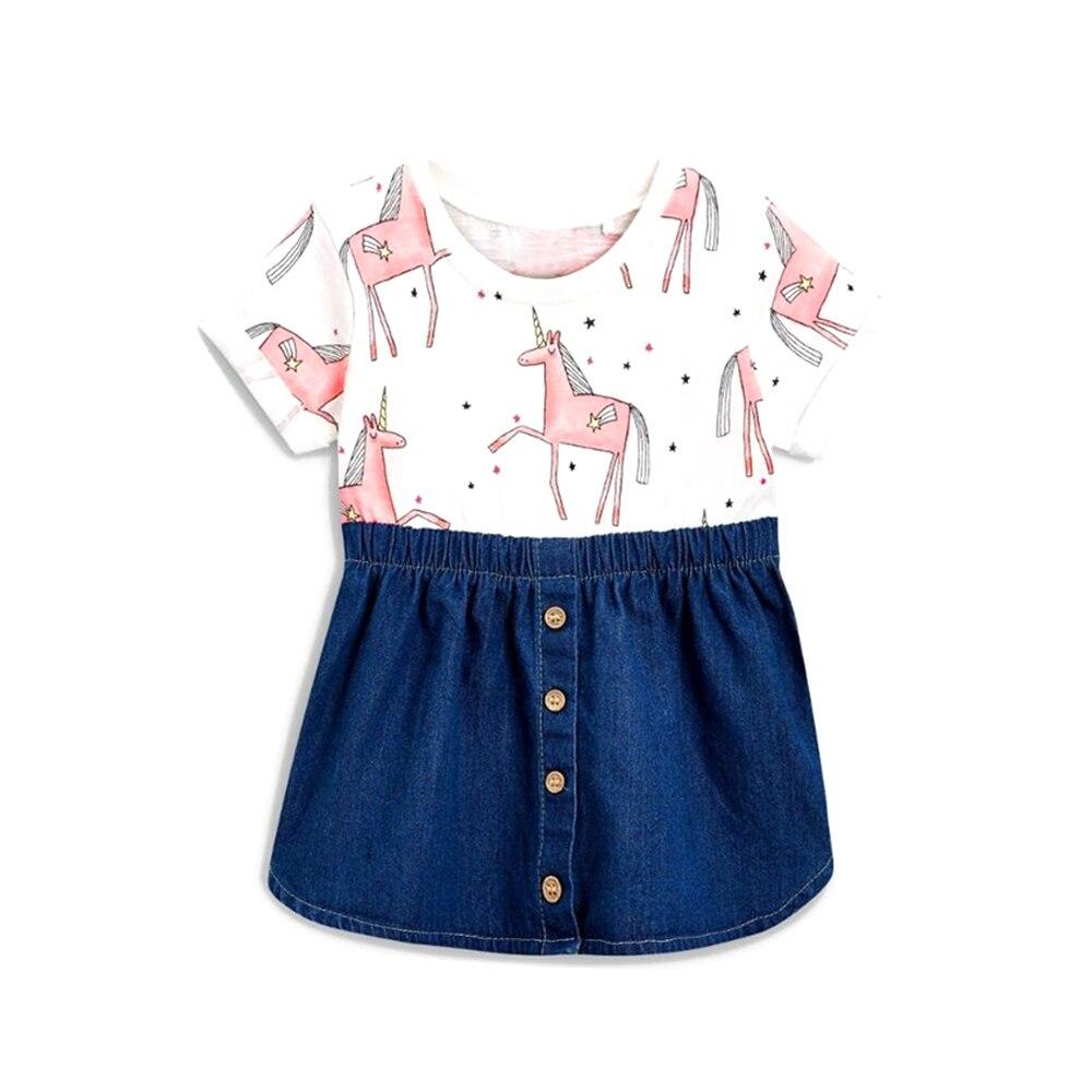 Tem Doge Kids Girls Summer Dresses Cartoon Pink Horse Patchwork Denim tutu Dress Children Clothes