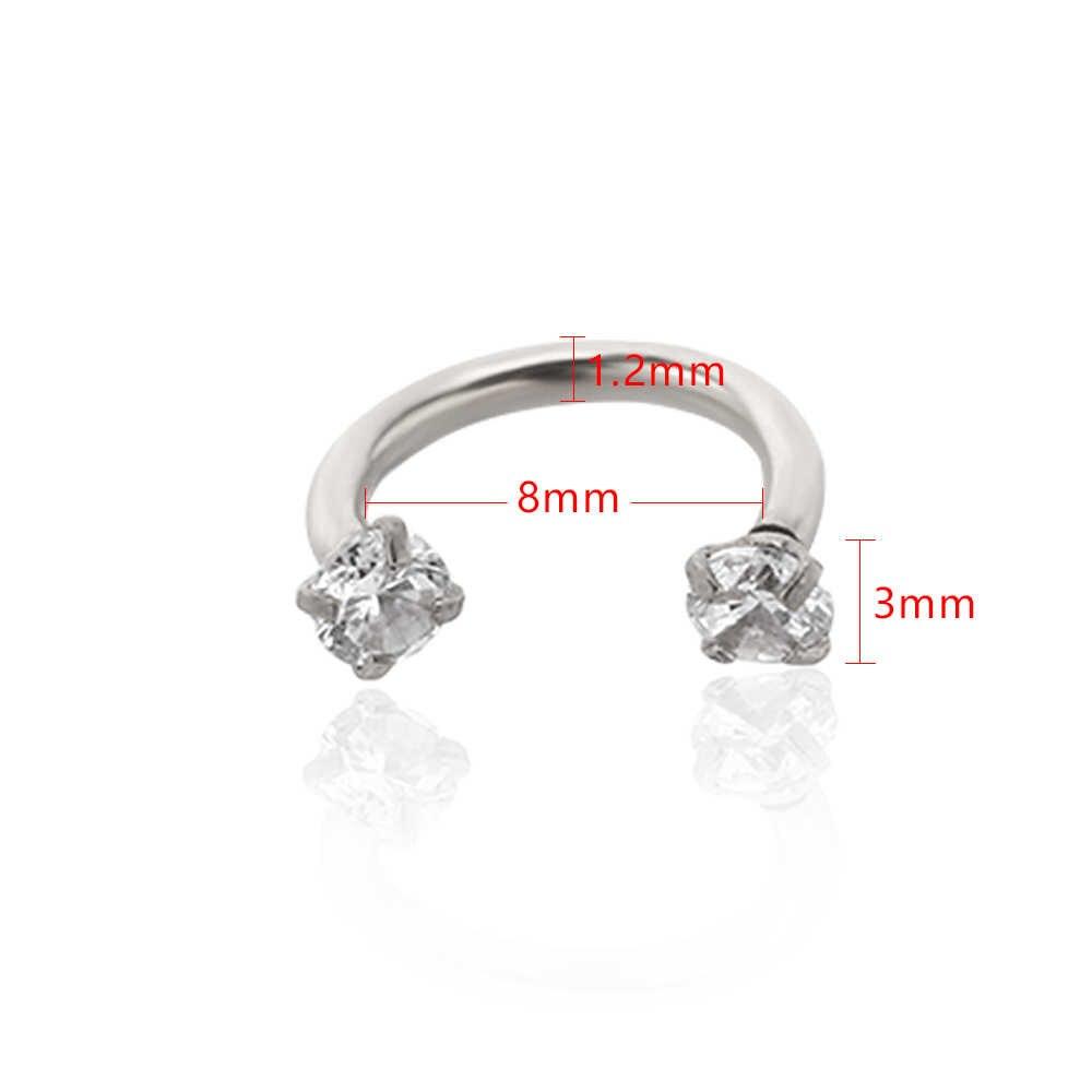 2 Pcs Unisex ภายในเกลียว Circular Barbell ริมฝีปากจมูก Septum แหวน Helix เจาะหูกระดูกอ่อน Lobe ต่างหู