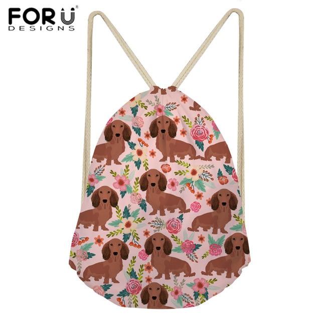 97df2a2d99 FORUDESIGNS Drawstring Bag Sports Women s Backpack Dachshund Dog Printing Sport  Bag for Women Fitness Gym Sack Training Daypack