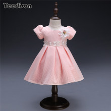 Yeedison Flower Baby Dress For Girls Pink Cute Pearl Infant 1 Year Birthday Patry Princess Ball Gown Bow Baby Christening Dress(China)