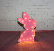 12inch pink metal rabbit lightning  LED Marquee Sign LIGHT UP  night light  wall lamps  child's room Deration hot sale car shape marquee sign light up vintage alphabet iron sheet night light wall lamps holiday indoor outdoor deration lamp