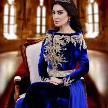 Saudi Arabic Royal Blue Abaya Long SLeeves Off the Shouler Evening Dresses Floral Lace Beaded Peplum Chiffon Sweep Train