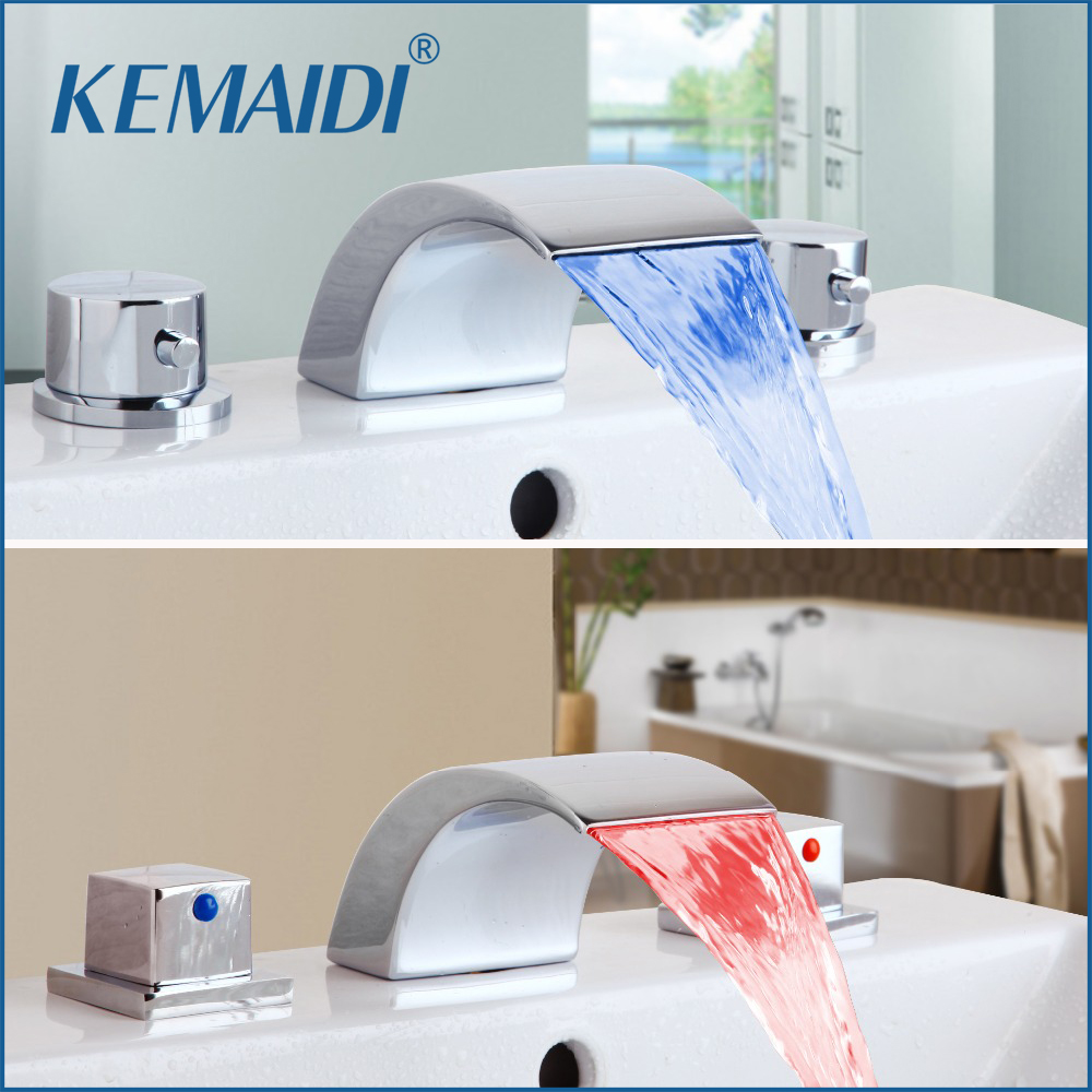 все цены на KEMAIDI Good Quality Bathroom Faucet 3 PCS Bathtub LED Basin Sink Faucet Waterfall Water Flow Lavatory Mixer Faucet Tap Mixer