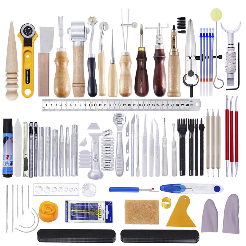 83Pcs DIY Leather Stitching Tool Hand Sewing Kit with Prong Hole Punch Edge Stamping Creaser Groover Awl Leathercraft Tools Set