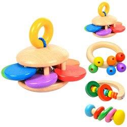 Holz Baby Spielzeug Rasseln Baby Bett Hand Glocke Rassel Spielzeug Handbell Musical Pädagogisches Instrument Kleinkinder Rasseln Griff Glocken Spielzeug