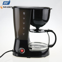 Automatic 5 Cups Espresso Electric Coffee Maker Black Drip Coffee Machine With Water Window High quality cafe American 800w