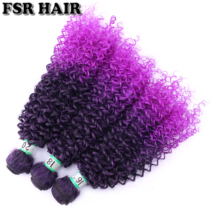 Image 5 - Black to Purple afro Kinky Curly hair weave synthetic hair extensions Ombre hair bundle
