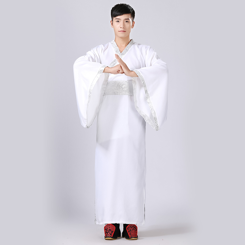 White Hanfu For Men Cosplay Costume Ancient Heroes Clothing Improved Hanfu Ethnic Traditional Clothes Hanfu Stage Costume BL1808