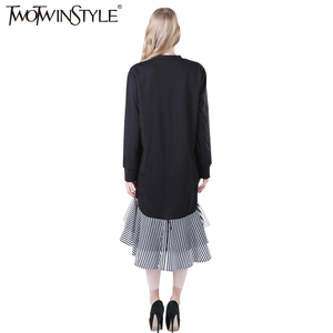 Image 3 - TWOTWINSTYLE 2020 Women Long Sleeve T Shirt Midi Dress Patchwork Stripe Mesh Ruffle Flare Asymmetrical Hem Pullover Casual