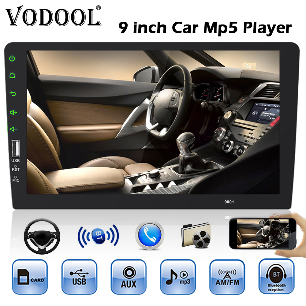 VODOOL 1din Car Radio Multimedia Player 1 Din 9 Touch Screen Autoradio Bluetooth FM USB Auto