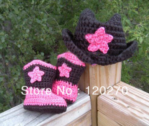 0bd6836d Free Shipping Crochet Baby Cowgirl Hat And Booties Set! Infant Cowboy Boots  or Cowgirl Boot + Hat Children's Wear Cotton Custom