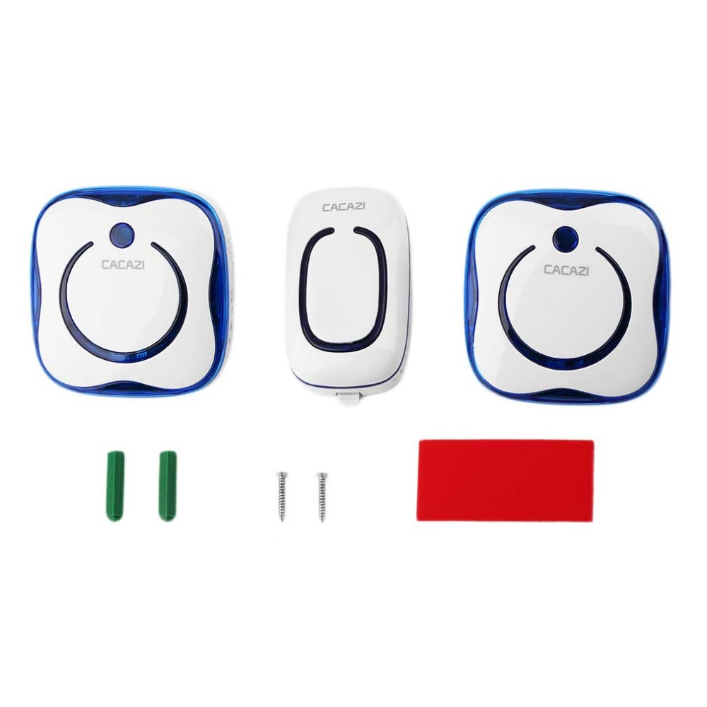 9809 Waterproof AC Digital Wireless Doorbell Button 1 Transmitter 2 Receivers Remote Control Elderly Pager Plug-in Bell 2 receivers 60 buzzers wireless restaurant buzzer caller table call calling button waiter pager system