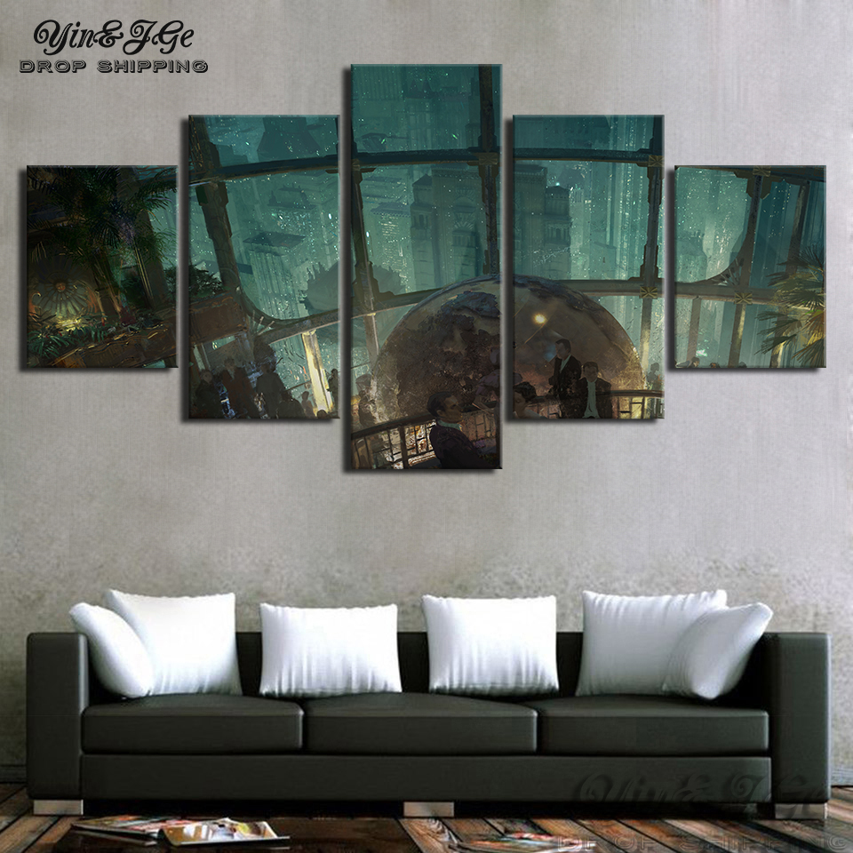 Canvas hd print poster 5 pieces bioshock game abstract painting wall art popular pictures modular home decor frameworks artworks