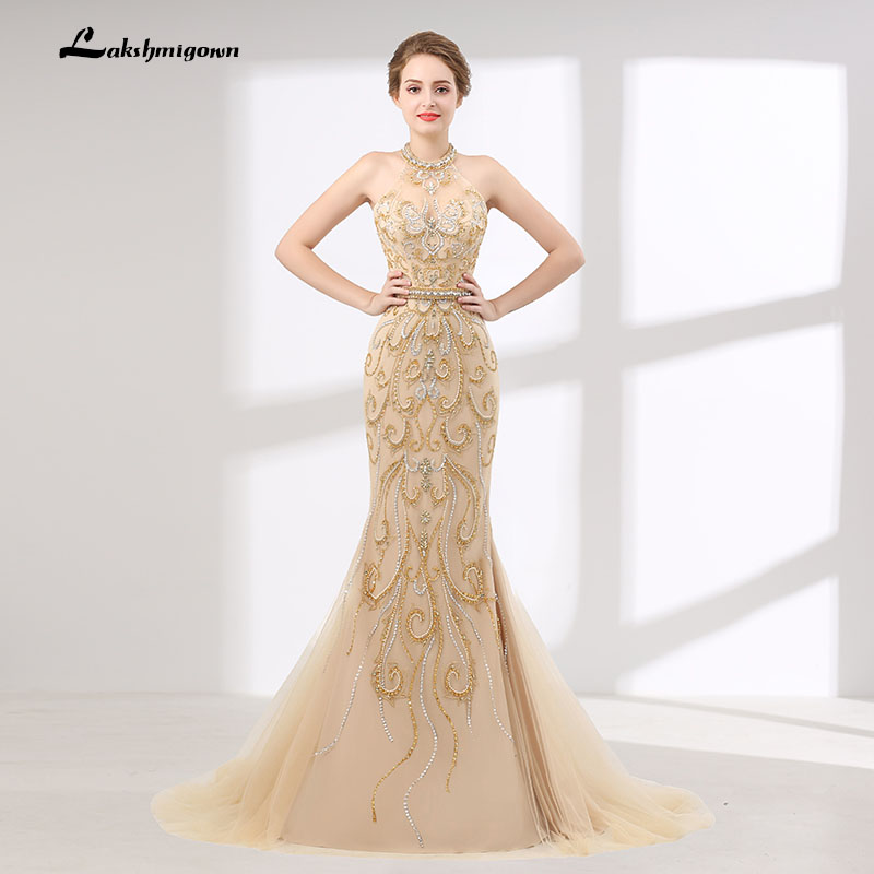 39f2460f Mermaid Evening Dress Sleeveless Halter Sequin Beads Party Prom Gown gold  Backless Prom Dress Long