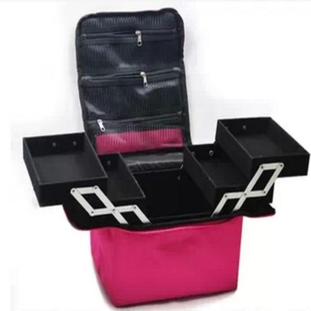 Cosmetic bag Professional makeup / cosmetic bag large capacity double / box shoulder dressing cosmetics makeup box