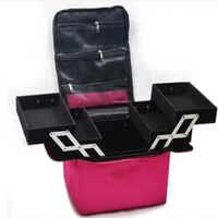 Professional Make Up Cosmetic Bag Box The Large Capacity Double Layers Can Be Hand Carry