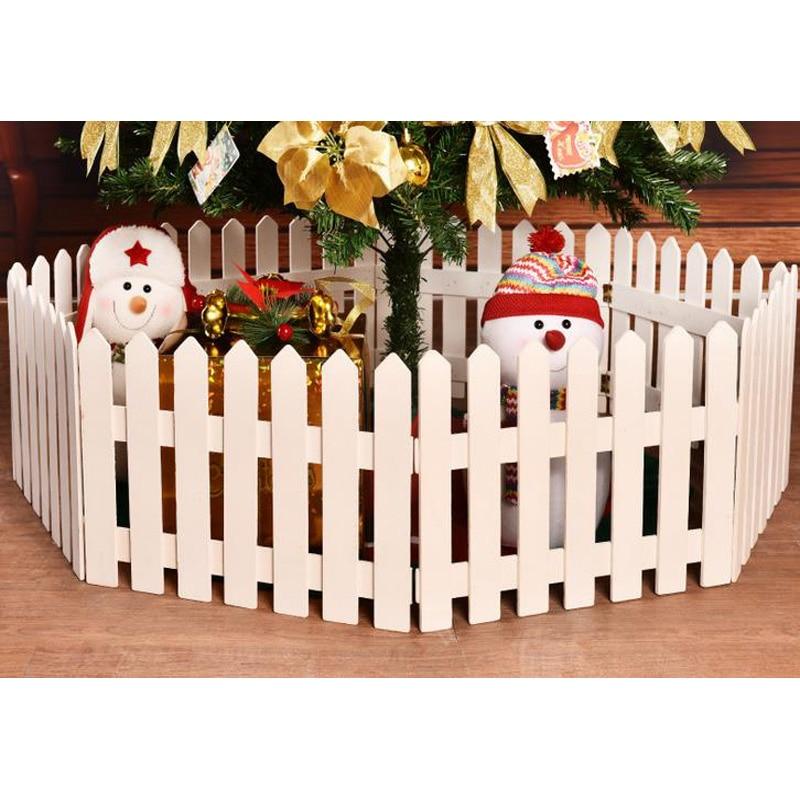 Haute qualité 30*160 cm blanc bois clôtures pour arbre de noël grand extérieur en bois noël décoratif clôture 1.6 mètre treillis