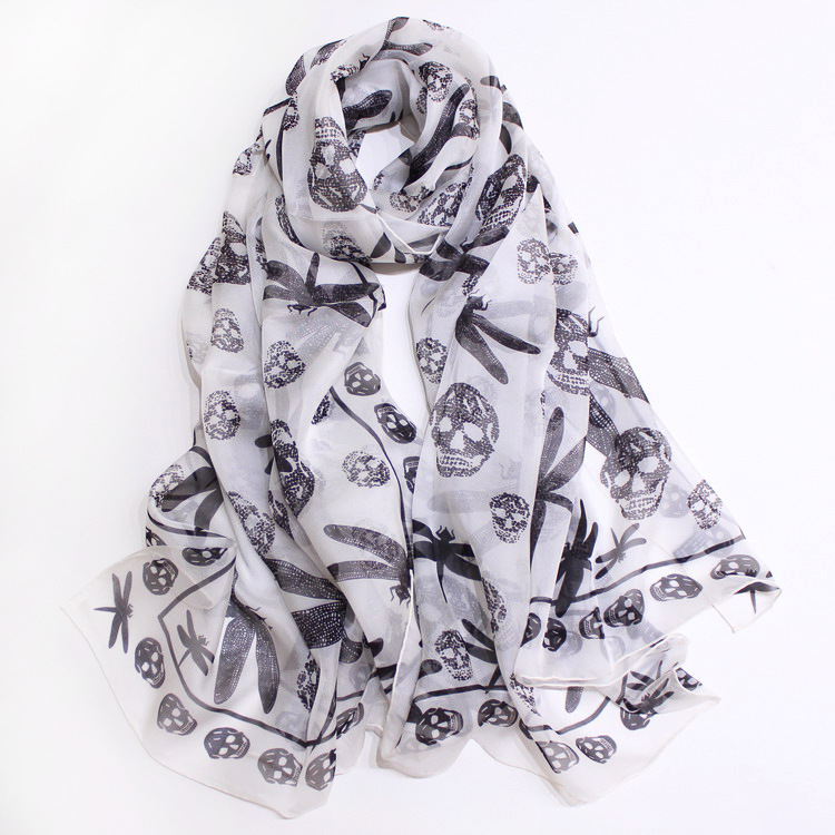 Skull Head Scarf Sunscreen Scarves Chiffon Pure Silk Blended Long Shawls Wraps 180 80cm Brand Design Handmade Hemming in Women 39 s Scarves from Apparel Accessories
