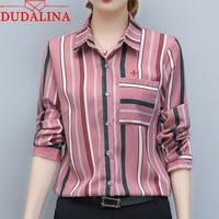 Dudalina Embroidery Female Shirts New Spring Summer Women Blouse Long Sleeve Elegant Shirts Women Fashion Tops Striped blouse