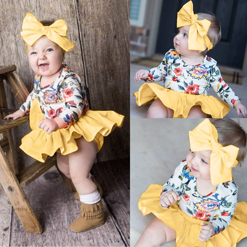 Infant Baby Girl Summer Outfits Set Patchwork Chic Clothing Set Long Sleeve Floral Print Tops+Shorts+Headband Clothes Outfit