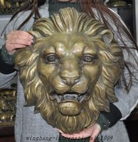 Huge Chinese fengshui Bronze animal ferocious Lion head Wall hanging statue