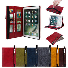 Case For apple air1 air2 coque Protective Stand Case with Pencil Holder wallet Card slot Cover For iPad 5 6 For business leisure wefor cover silicon leather case for apple ipad air 2 flip book style stand with card holder for ipad air2 wallet [painting]