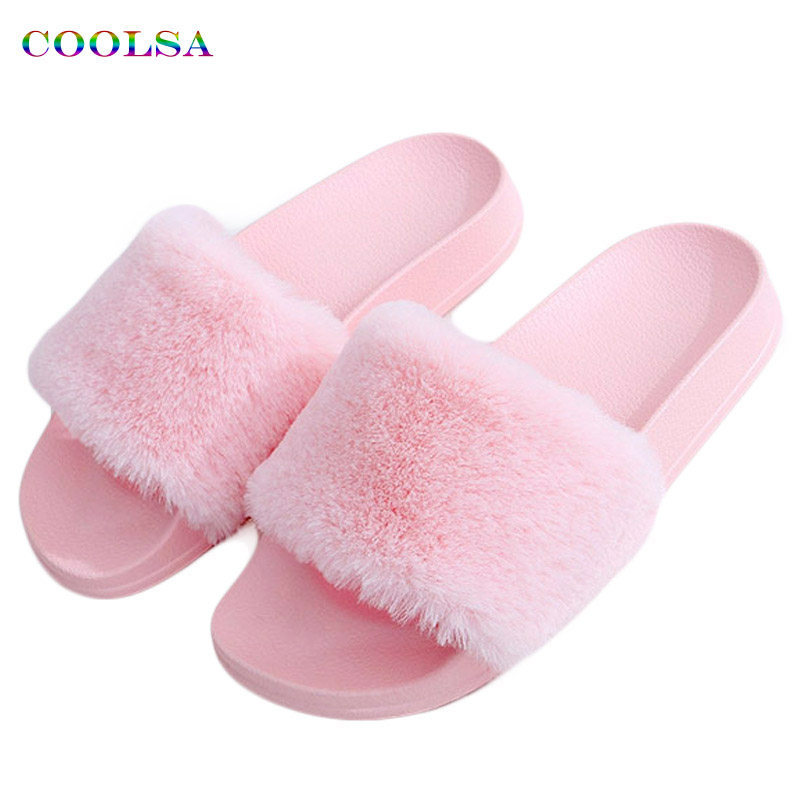 Coolsa New Arrivals Autumn Plush Slippers Fluffy Fur Flock Women Slides Designer Flat Casual