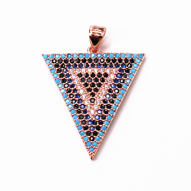 5pcs/lot Luck Jewel Connectors Triangle Pendant Charms CZ Electroplating Khamsah DIY Necklace Jewelry Accessories Lady Gift(China)