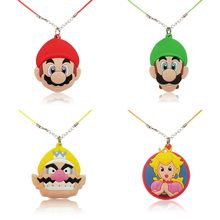 1pcs Super Mario Necklaces Cartoon Soft PVC Pendant Chain hoker Fashion Jewelry For Boys Girls Accessories Kid Xmas Gift(China)