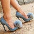 Pele De coelho Decoração Mulheres Bombas Sexy Azul Denim Saltos Altos Pom Pom Prom Vestido de Noiva Sapatos Mulher Apontou Toe Zapatos Mujer