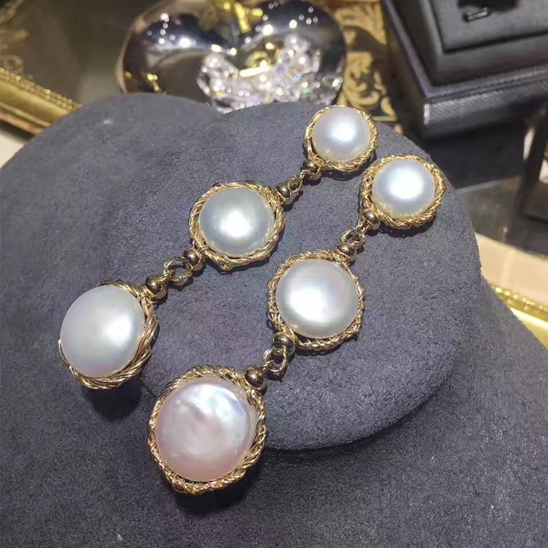 ANI 14k Roll Yellow Gold Women Pearl Dangle Earring Natural Baroque Shape White Pearl Fashion Drop Earrings boucle d oreille серьги кольца fashion in 40 d oreille brincos argola pequeno 40er 1