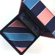 Party Wedding Mens Tie Necktie Set 8cm Gravatas Jacquard Woven Neck Tie Suit Men Ties Sets Hanky Cufflink w Gift Box Corbatas new brand men ties causal jacquard woven ties for men high grade gift box sets necktie handkerchief cufflink business tie set