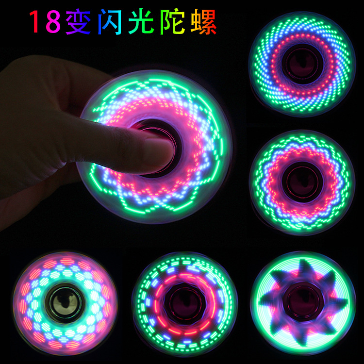New Electroplated Trifoil 18-36 Variable Led Flash Finger-tip Gyroscope Flash Character Flash Finger Gyroscope Decompression Toy