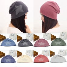 11 Colors Sale 1PC Women Warm Autumn Winter Casual Beanie Hat Cotton Rhinestones Five-pointed Star Turban Cap