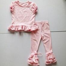 light pink raglan sleeve shirt tee and ruffle legging pant girls icing summer outfit o-neck novelty shirt set