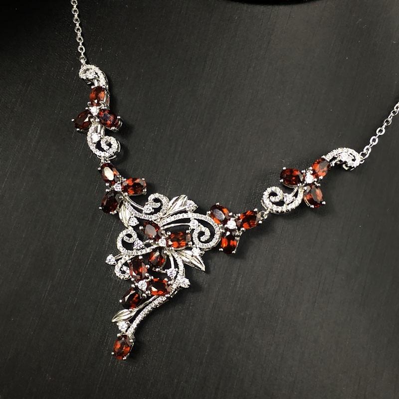 Natural garnet permata batu pernikahan kalung 925 sterling silver - Perhiasan bagus - Foto 4