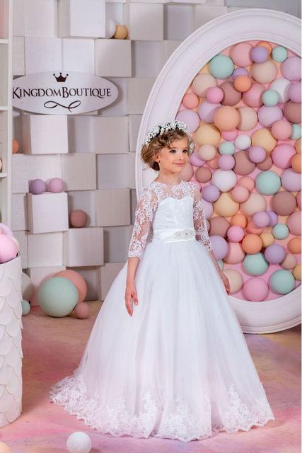 2017 blume Mädchen Kleider für Hochzeit Ballkleid Feder Hübsche ...