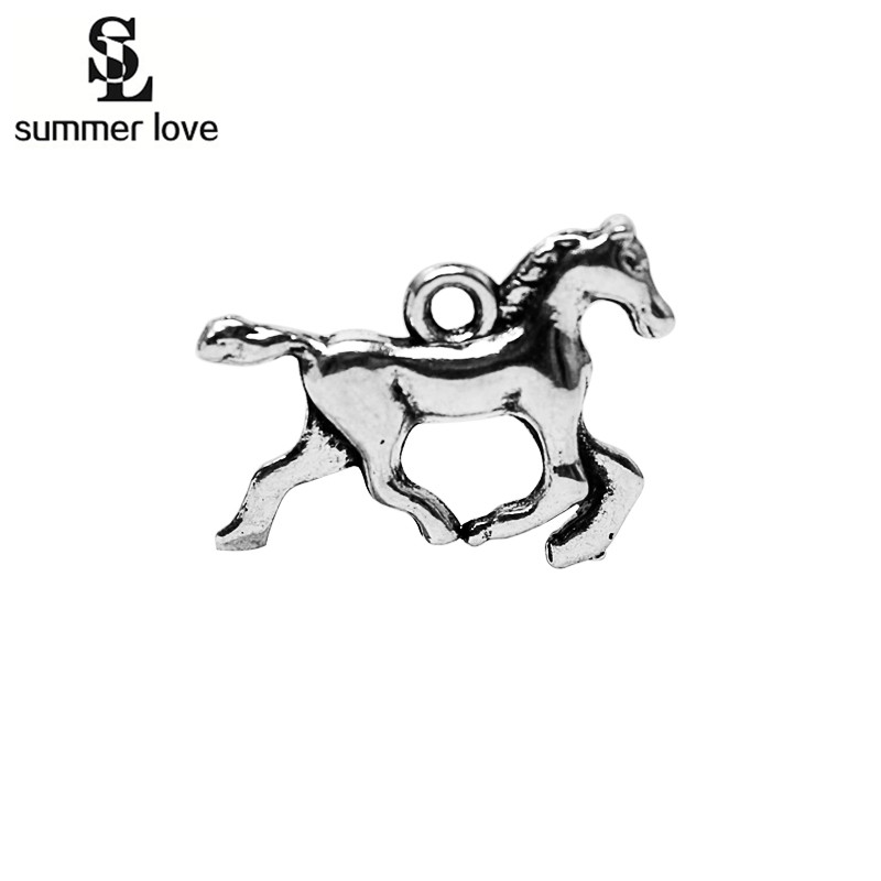Summer Love 10pcs Antique Silver Running Horse Charm Pendant Animal Charm For Vintage DIY Craft Handmade