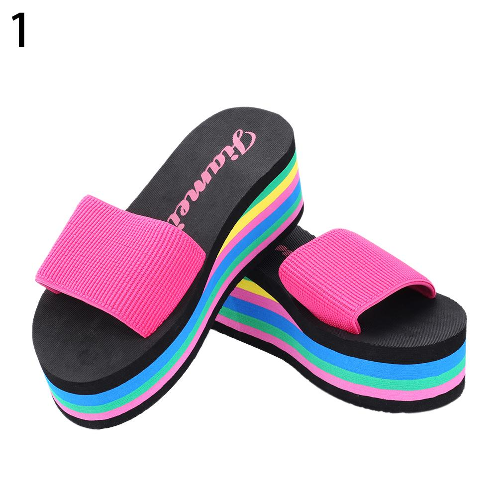 цена Women\'s Summer Rainbow Color Platform Wedge Beach Slippers Sandals High Heels