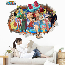 3D Cartoon Wall Stickers One Piece Luffy Children Room Decorative Stickers Removable Stickers Home Decor Waterproof Paper