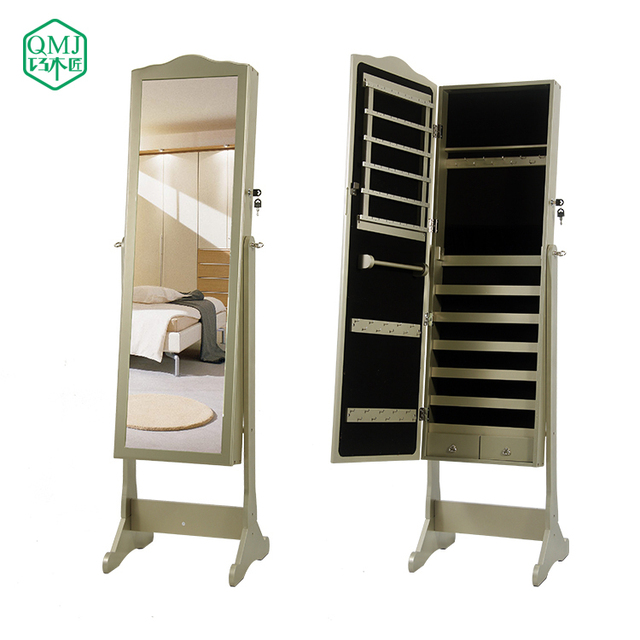 New Luxury Hot SALE Large Wooden Mirror Jewelry Cabinet Dressing Mirror  With Cabinet For Living Room