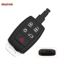 OkeyTech for Volvo XC90 C70 S60 D5 V50 Key Shell Blank Fob 5 Button Remote Car Key Cover Case Has Insert Key Blade Free Shipping