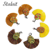 Unique Water Drop Cotton Thread Colorful Tassel Earrings Vintage Sector Ribbon Earring For Women Girl Wedding Gift