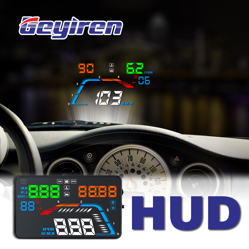 GEYIREN A100S With Lens Hood Q700 Car HUD Head Up Display OBD II EUOBD Windscreen Projector Auto Electronics Better Than C60 C80