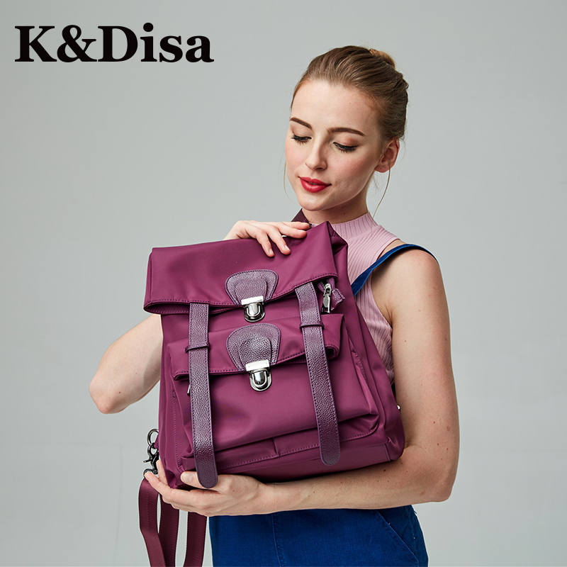 Designer Backpack Women High Quality Cow Leather With Oxford Cloth New Bag For Girls Softback 2018 Casual Female BackPacks