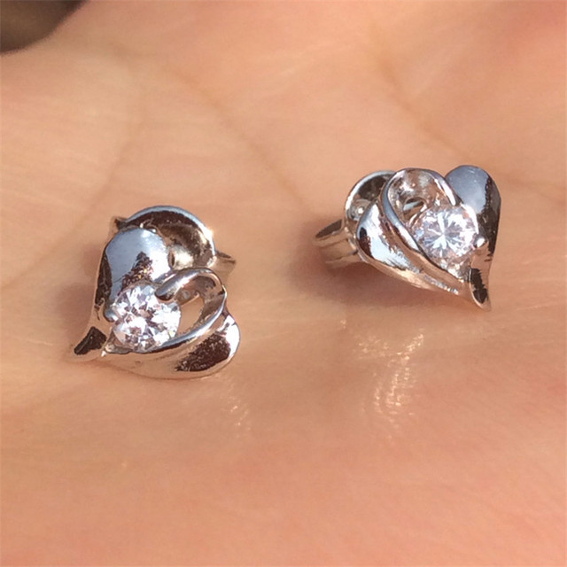 Genuine Sterling Silver Stud Earrings For Womens White Gold Plated Heart Cz Imitated Diamond Small