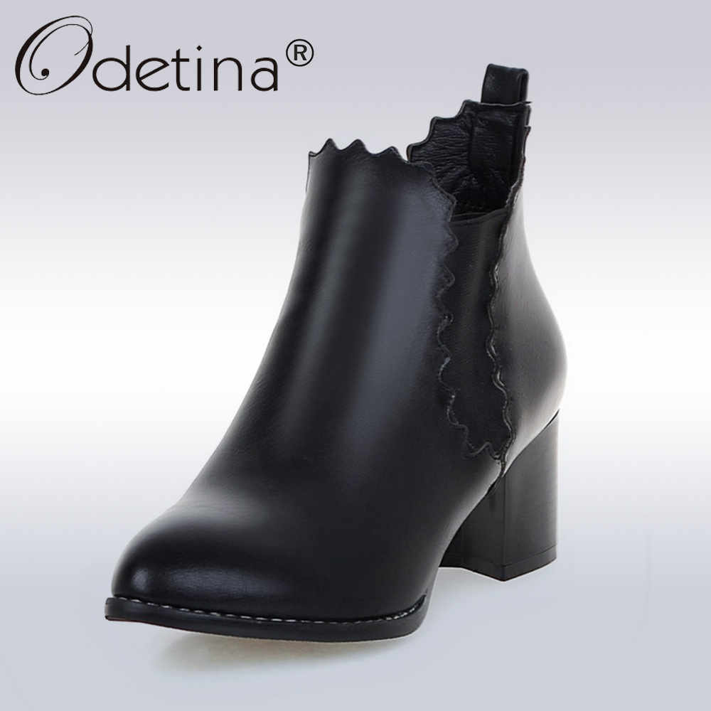 Odetina 2017 New Fashion PU Leather Chelsea Boots Women Classic Slip-On Pointed Toe Short Ankle Boots Brown Black Plus Size 43 odetina fashion women pointed toe rivets loafers 2017 spring