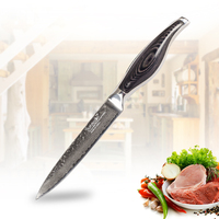 SUNNECKO 5 inch Utility Knife Kitchen Knives 73 Layers Damascus Steel Strong Stria Hammer Blade Pakka Wood Handle CuttingTools