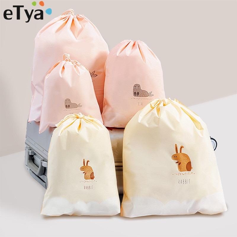 ETya Women Cute Beauty Neceser Makeup Bag PVC Waterproof Drawstring Cosmetic Bag For Make Up Pouch Travel Toiletry Bags