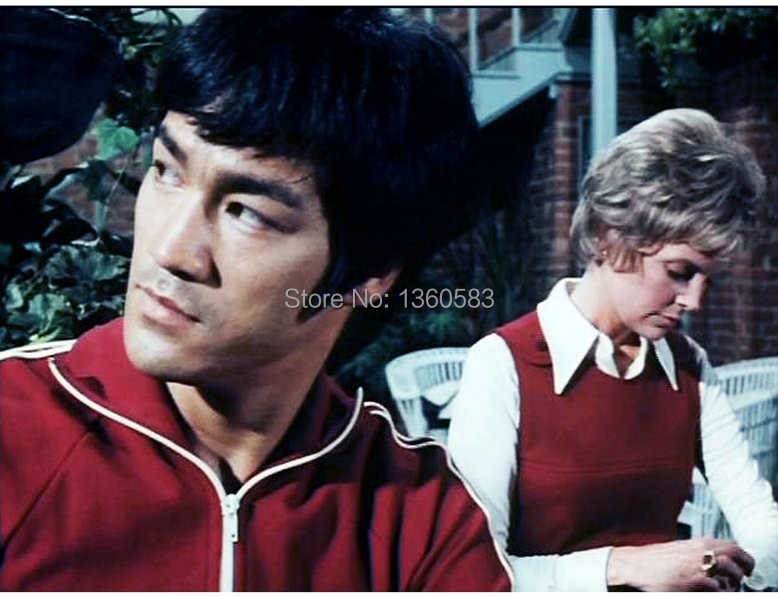 Bruce Lee Costume Classic Longstreet Red Kung Fu Suits Tracksuit Cotton Uniform